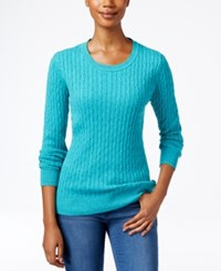 Karen Scott Marled Cable Knit Sweater Only At Macy's Royal Teal