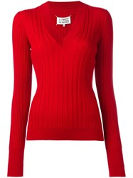 Maison Martin Margiela Ribbed Knit Jumper Red