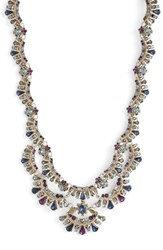Marchesa Crystal Collar Necklace Blue Multi Gold