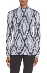 Women's Pink Tartan Snakeskin Jacquard Mock Neck Sweater