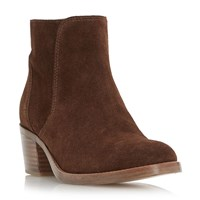Dune Pearson Stacked Heeled Ankle Boots Brown