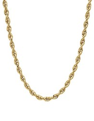 Lord And Taylor 14K Yellow Gold Rope Chain Link Necklace 20In