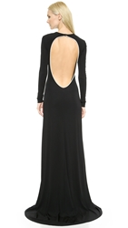 Cushnie Et Ochs Gown With Imitation Pearl Back Black White