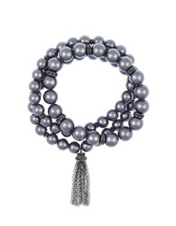 Laundry By Shelli Segal 8Mm Faux Pearl Three Row Stretch Bracelet Grey