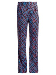 Marni Geometric Print Flared Trousers Blue Print