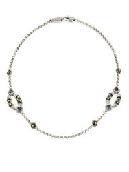 Konstantino Nemesis Green Agate Two Station Necklace Silver Multi