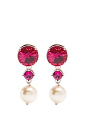 Miu Miu Faux Pearl And Crystal Clip On Earrings Pink
