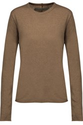 Enza Costa Cotton And Cashmere Blend Sweater Light Brown
