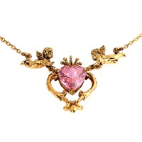 Metal Couture Florentine Heart And Cherub Necklace Gold