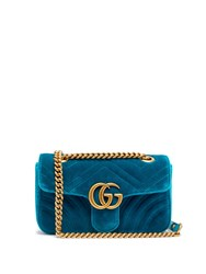 Gucci Gg Marmont Small Quilted Velvet Cross Body Bag Green