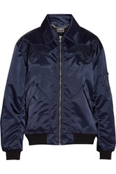 Markus Lupfer Amelia Embroidered Shell Bomber Jacket Navy
