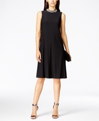 Jessica Howard Embellished Mock Turtleneck Dress Black