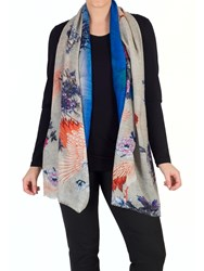 Chesca Wool Rich Bird And Flower Scarf Multi