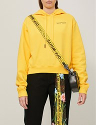 Off White C O Virgil Abloh Quotes Cropped Cotton Jersey Hoody Yellow