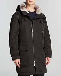 Maximilian Men's Coat With Rabbit Fur Lining Black