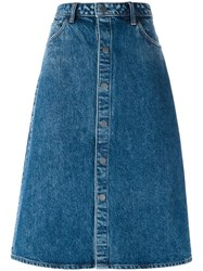 Helmut Lang Midi Denim Skirt Blue