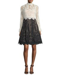 Catherine Deane High Neck Scalloped Lace Fit And Flare Cocktail Dress Oysterblack
