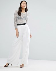 Rare Lace Sleeve Wide Leg Jumpsuit White
