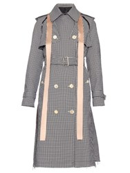Undercover Removable Sleeved Hound's Tooth Print Trench Coat Black White