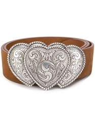 B Low The Belt Heart Buckle Brown