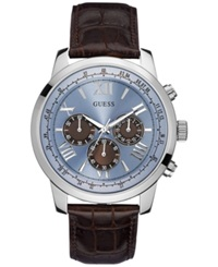 Guess Men's Chronograph Brown Croc Embossed Leather Strap Watch 45Mm U0380g6