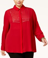 Poetic Justice Trendy Plus Size Studded Blouse Wine