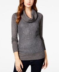 Amy Byer Bcx Juniors' Sequin Mixed Knit Cowl Neck Sweater Charcoal