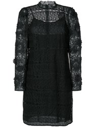 Michael Kors Floral Mesh Lace Dress Cotton Polyester Black