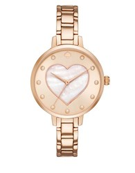 Kate Spade Faux Pearl And Heart Stainless Steel Bracelet Watch Rose Gold