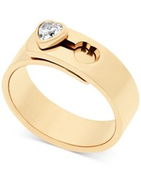 Michael Kors Crystal Heart Faux Clasp Statement Ring Gold