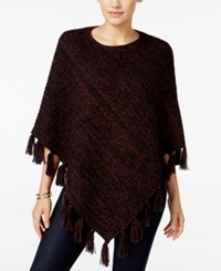 Styleandco. Style Co. Boat Neck Fringe Poncho Only At Macy's Dried Plum Black