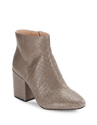 French Connection Dilyla Embossed Leather Ankle Boots Volcano Grey