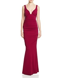 Nicole Miller Plunge Neck Jersey Gown Berry