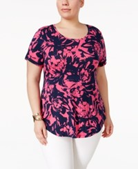 Jm Collection Plus Size Printed Short Sleeve Top Only At Macy's Pink Blown Bloom