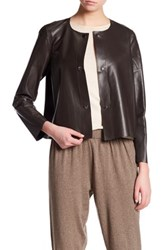 Lafayette 148 New York Leather Tansy Jacket White