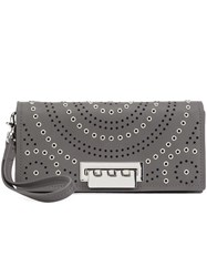 Zac Posen Embellished Perforated Clutch Grey