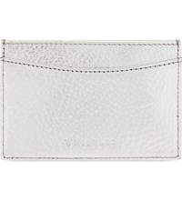 Whistles Tumbled Metallic Leather Card Holder Silver