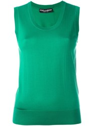 Dolce And Gabbana Fine Knit Sleeveless Top Green