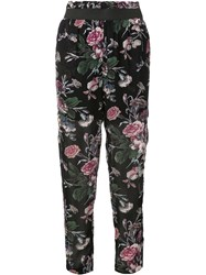 Ganni Floral Print Cropped Trousers Blue