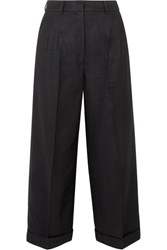 Akris Fira Cropped Mulberry Silk And Wool Blend Twill Wide Leg Pants Black