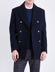 Brioni Double Breasted Wool Peacoat Navy