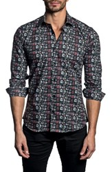 Jared Lang Trim Fit Print Sport Shirt Black Print
