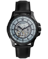 Fossil Men's Automatic Dean Black Leather Strap Watch 45Mm Me3130