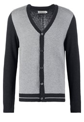 Pier One Cardigan Dark Grey Melange Mottled Light Grey