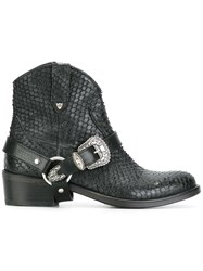 Htc Hollywood Trading Company Buckled Cowboy Boots Black