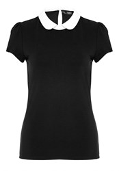 Hallhuber Rounded Collar Top Black