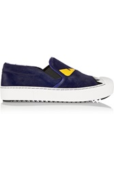 Fendi Bag Bug Leather Trimmed Calf Hair Slip On Sneakers