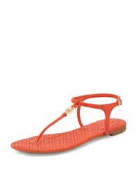 Tory Burch Marion Quilted T Strap Sandal Poppy Red Women's