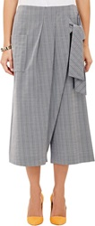 Thakoon Wrap Front Cropped Wide Leg Trousers Blue Size 6 Us