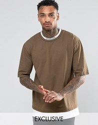Underated Turtle Neck T Shirt Khaki Green